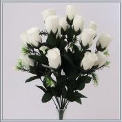 18 head WHITE rose buds artificial flower bush weddings/graves