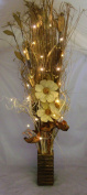 Link Products 100 Cm Cream & Gold Bouquet In Wooden Vase With 20 Led Lights