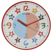 """""""Teach The Time"""" Colourful Childrens Wall Clock Red"""