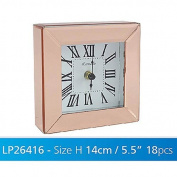 Copper Coloured Mirrored Glass Square Desk / Shelf Clock - 12 Hour Display
