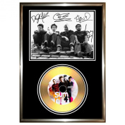 SUM 41 - SIGNED FRAMED GOLD VINYL RECORD CD & PHOTO DISPLAY