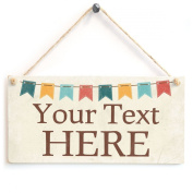 Your Text Here (Crafty Bunting Design)- Custom Personalised Wooden Sign Gift