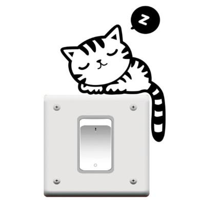 Cute Cat Nap Pet Vinyl Light Switch Wall Decal Stickers, Black