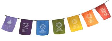 Rainbow Multi Colour Chakra Symbol & Mantra Affirmation Prayer Flags / Bunting. Fair Trade