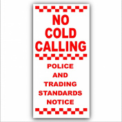 Under Doorbell or Below Knocker - No Cold Callers,Salesman Calling Warning House Sticker-Self Adhesive Vinyl Door Bell Sign