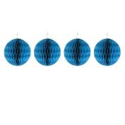 Pack of Four Blue 10cm Honeycomb Retro Pom Pom Paper Christmas Bauble Decorations