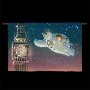 Large The Snowman and Snowdog Flying Round Big Ben Tapestry 80cm x 60cm Fibre Optic FB00308