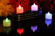 PK Green Colour Changing LED Battery Candles Flameless Tealights, Set of 4
