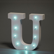 Up in Lights Decorative LED Alphabet White Wooden Letters - Letter U