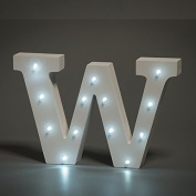 Up in Lights Decorative LED Alphabet White Wooden Letters - Letter W