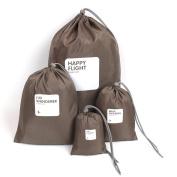 Tofern 4 pcs pack Ladies Make-up Organiser Bag Suitcase Organisers Travel Storage Bags, brown