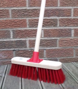 Stiff Sweeping Yard Brush 30cm Red PVC Hard Broom with Handle Outdoor Stable