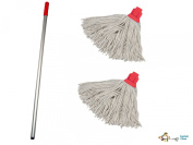 Professional Colour Coded Mop Handle and 2 Mop Heads - Colour Red