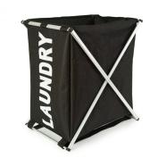 Aluminium Foldable Single Laundry Storage Hamper Basket - Black / White