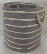 Large and Circular soft squashy collapsible bag for linen , laundry ,washing and toy storage. Light grey and cream design