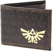 ZELDA Bifold Wallet with Embossed Link and Gold Foil Logos, Dark Brown