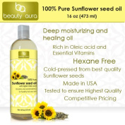 Beauty Aura 100% Pure Sunflower Oil, 16 Fl Ounce - Cold Pressed & Hexane Free - No Synthetic Preservatives, Colours or Fragnances