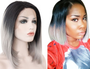 Ebingoo Short Grey Wig Straight Black Root Grey Ombre Synthetic Bob Lace Front Wigs for Women JLS003