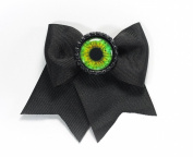 Project Pinup Eyeball Bottlecap Hair Bow Clip Black