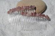 Pink Aventurine Hair Combs