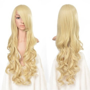 Image Light-Gold Heat Resistant Curly Wavy Long Cosplay Wigs Man-made Full Head Fair Extention-80cm