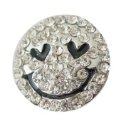 Chunk Snap Charm Smiley Face Clear Stones 20mm