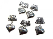 5 sets of 3D love heart scarf pendant bail slide set