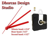 Dhorcas (#05) 1.3cm Threaded Motor and Red 13cm Hands and Hanger, Quartz Clock Movement Kit for Replacement
