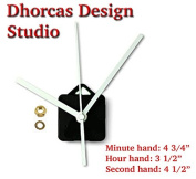 Dhorcas (#04) 0.5cm Threaded Motor and White 13cm Hands, Quartz Clock Movement Kit for Replacement