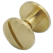 Bluemoona 20 Sets - Solid Brass Screw Arc Head Button 10mm Stud Nail Chicago Leather Belt Shaft Length 10mm*4mm*4mm