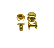 Amanteao Golden Double Cap Rivets Plane Cap 8mm and Post 6mm Pack of 200 Sets