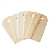 Blank Wooden Gift Tags Labels 5.1cm - 0.6cm x 2.5cm - 0.6cm for Present Party Bags, Wine Bottles, Arts & Crafts, Home Decoration (50 Tags) by Super Z Outlet®