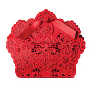 Sealike 50 Pcs Elegant Red Lace Hollow Carved Wedding Favour Candy Boxes Gift Boxes with Stylus