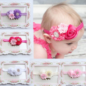 FEITONG(TM) 5PC Baby Girls Elastic Headband Rose Flower Photography Headbands