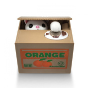 Matney® Stealing Coin Cat Box- Piggy Bank - White Kitty - English Speaking - Great Gift for Any Child