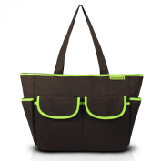 Jacki Design Mama & Me Collection Solid Print Nappy Bag, Brown Colour and Green Details