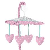 Skylar Grey Damask and Pink Polka Dot Girls Musical Baby Crib Mobile