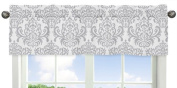Skylar Collection Grey and White Damask Print Girls Window Valance