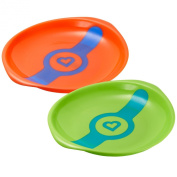 Munchkin White Hot Toddler Plates, 2 Count - Green/Coral