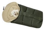 Lux4Kids Cosy winter footmuff with bear motif Integrated magnification in 12 colours approx 43cm x 86-103cm 05 Olive & Cream
