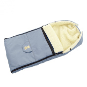 Lux4Kids Footmuff 103cm XL footmuff with bear real virgin wool footmuff for buggy Combi Stroller or carriage 23 Light Blue