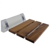 30cm Teak Mini Folding Shower Seat Bench Finished Dark Wood Chrome Spa Bath NEW