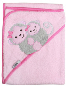 Extra Large 100cm x 80cm Absorbent Hooded Towel, Grey Monkeys (pink), Frenchie Mini Couture