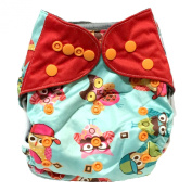 """HappyEndings """"Night, Night""""TM Charcoal Bamboo All In One Nappy (+Pocket & 5 Layer Charcoal Bamboo Insert) """"What a Hoot!"""""""