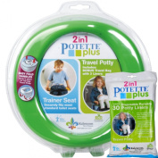 Green Potette Plus Port-a-potty Training Potty Travel Toilet Seat - 2 in 1 Bundle with Potette Plus Liners - 30 Liners