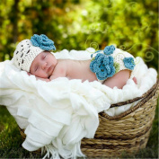 2pcs Baby Photography Prop Crochet Hat Nappy Knitted Outfit Blue 0-2 Months