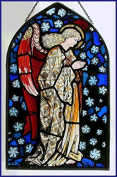 Decorative Hand Painted Stained Glass Arch Shape Church Panel (Extra Large) in an Angel Praying William Morris Design.