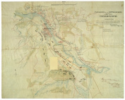 1863 Map originally prepared following the Battle of Fredericksburg in December 1862 ... enhanced by the addition of details from a captured map prepared by topographical engineer Jedediah Hotchkiss for the use of Confederate lietenant general Stonewal ..
