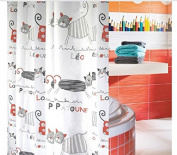 Bathroom Thinken Polyester Shower Curtain Waterproof Mouldproof Grey Cartoon Cat Curtain Luxury Decor,Abstract Art Shower Curtain, Contemporary Bathroom Decor,72x72inch