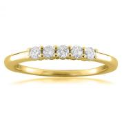 14k Yellow Gold 5-Stone Round Diamond Bridal Wedding Band Ring
